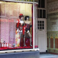 Rocky Horror window of a fabric store.