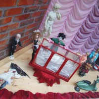 Rocky Horror window of a fabric store. In miniature.