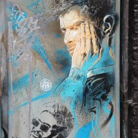 C215 piece on a telephone box, Brouwersgracht.
