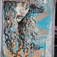 Alice piece on a telephone box, Brouwersgracht.