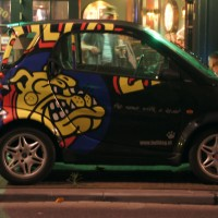 The Bulldog Coffee (weed) shop's new Smart car, which replaced the old Ape Piaggio 3 wheeler.