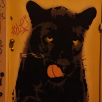 Large black panther painted on a door on Spuistraat