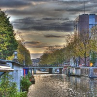 Rain clouds in the east over the Nieuwe Prinsengracht