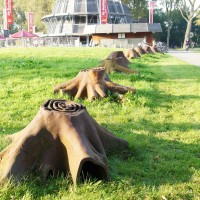 Iron tree stumps at the Bosbaan