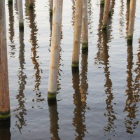 Park Schinkel Islands, poles in the water with reflection