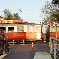 Historic tram taking wedding party for a tour