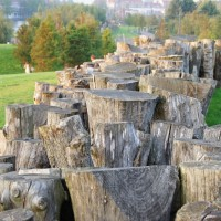 Log fence, Park Schinkel Islands