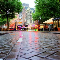 Rainy street at Rembrandtplein
