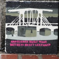 Weeping for squatters - tile on the Magerebrug