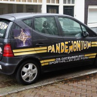 Pandemonium car advert outside a student house on Kertkstraat
