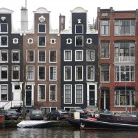 Very typical canal houses along the Amstel.