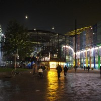 Arena at night in a light drizzle
