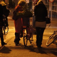 Ladies transporting their living Christmas tree on a bike.