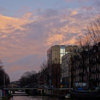 Looking East along the Nieuwe Prinsengracht toward Artis Zoo