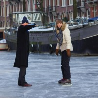 Ice skating on the Amsterdam canals, Nieuwe Prinsengracht