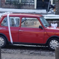 Mini wedding car. Did you see the cans?