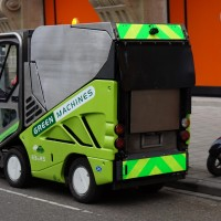 Mean Green Machine. Tiny street sweepers for narrow streets and bike paths