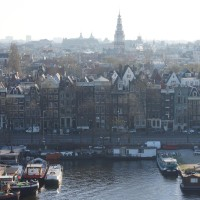 View of Amsterdam center from the top of the Library.