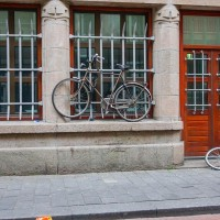 Creative bike parking on the Warmoesstraat.
