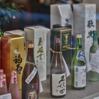 Beautiful window display of premium Sake