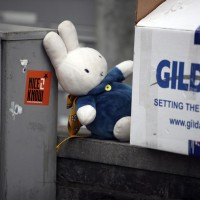 Nijntje (Miffy) making a last appearance before the morningstar (recycling man) takes him.