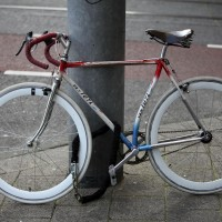 Handmade Dutch racing bike, recycled into a fixie (fixed gear bike)