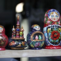 Matroska dolls in a Russian shop window