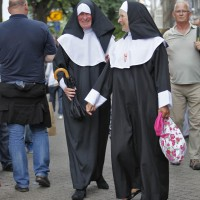 Couple of nuns, one with very sexy undergarments. Guess which one.