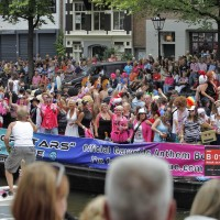 A canal float with people dressed as Pop Stars