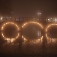 Keisersgracht bridge on the Amstel in the fog