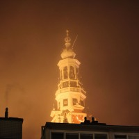 Zuiderkerk (Southern Church) looking magical in the drifting fog and sodium lights