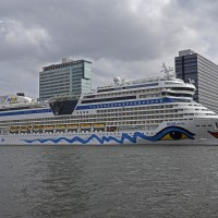 Cruise ship Aida Stella loading passengers at the cruise terminal