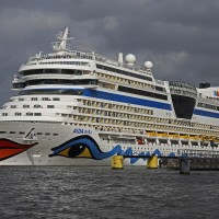 Aida Stella leaving the cruise ship terminal loaded with passengers
