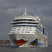 Aida Stella Cruise liner leaving the port